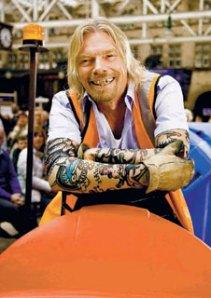 Richard Branson, tatts and bad teeth.