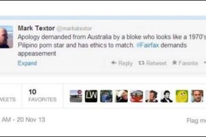 Offensive Tweet sent by pollster firm CrosbyTextor principal Mark Textor