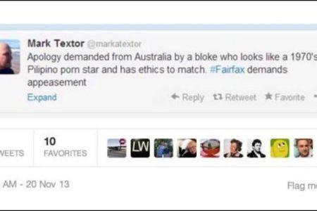 Offensive Tweet sent by pollster firm CrosbyTextor principal Mark Textor